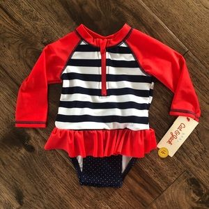 Cat & Jack | Red/Blue Striped Swimsuit NWT